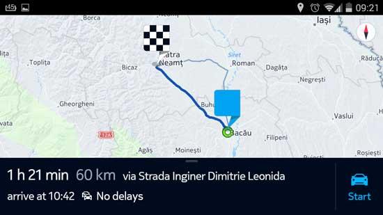 ruta creata cu HERE Maps pentru Android