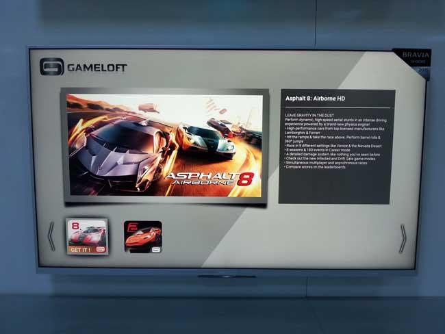 jocul asphalt rulat pe sony smart tv cu android